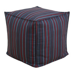 Chooty & Co. - Chooty & Co. Multi Stripe Charcoal Seamed Beads Hassock Ottoman Multicolor - BP1 - Shop for Ottoman & Footstools from Hayneedle.com! The Chooty & Co. Multi Stripe Charcoal Seamed Beads Hassock Ottoman is a fun way to perk up your seating area while adding functionality. Tiny red and gray stripes pop against the navy blue background letting you unite different elements of your decor. Unlike throw pillows which just kind of sit there this adorable tuffet is supportive enough to be used as a footrest or additional seating. The 100% polyester cover zips off for easier spot-cleaning when needed.About Chooty & Co.A lifelong dream of running a textile manufacturing business came to life in 2009 for Connie Garrett of Chooty & Co. This achievement was kicked off in September of '09 with the purchase of Blanket Barons well known for their imported soft as mink baby blankets and equally alluring adult coverlets. Chooty's busy manufacturing facility located in Council Bluffs Iowa utilizes a talented team to offer the blankets in many new fashion-forward patterns and solids. They've also added hundreds of Made in the USA textile products including accent pillows table linens shower curtains duvet sets window curtains and pet beds. Chooty & Co. operates on one simple principle: What is best for our customer is also best for our company.