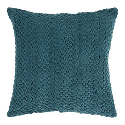 Surya Rugs - Teal Pucker Pillow - This solid textural pillow gives your space a fun, new look. The color teal green accents this decorative pillow. This pillow contains a poly fill and a zipper closure. Add this 22 x 22 pillow to your collection today.  - Includes one poly-fiber filled insert and one pillow cover.   - Pillow cover material: 100% Cotton Surya Rugs - P0279-2222P