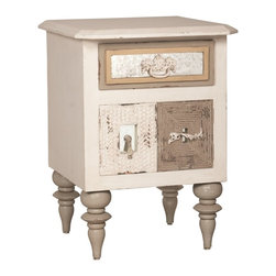"Guildmaster - Mirror Mosaic Side Chest by Guildmaster - From shabby chic to a boutique hotel, this ""can't miss it"" side table is a fantastic selection for the bedroom. Crafted of solid mahogany with a garden lattice white finish. A variety of unique hardware is attached to each antiqued mirror inset. (GM) 22"" square x 30"" high"