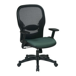 Office Star - Space Seating 23 Series Professional AirGrid Back and Fabric Seat Managers Chair - Professional airgrid back and fabric seat manager's chair. Thick padded fabric seat and airgrid back with adjustable lumbar support. One touch pneumatic seat height adjustment. 2-to-1 synchro tilt control with adjustable tilt tension control. Height adjustable arms with PU pads. Choice of 6 exciting fabrics. Heavy duty gunmetal coated nylon base with black end caps and dual wheel carpet casters