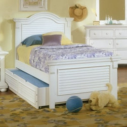 Cottage Traditions Full Panel Bed - Eggshell White - Add versatility to your child's bedroom with the trundle-fitted Cottage Traditions Full/Double Panel Bed - Eggshell White. Not only functional, this coastal-influenced panel bed features beautiful louvered inserts and is crafted of pine wood and pine veneers with a distressed eggshell white finish and matching wooden knob hardware.About American WoodcraftersFor unparalleled quality and value, choose American Woodcrafters for your youth or master bedroom furniture. Founded in 1996 as a division of Rockford Capital Corporation and located in High Point, N.C., American Woodcrafters is the brainchild of John N. Foster. His 40 years of experience in manufacturing, marketing, and product development inspire the company to deliver superior furniture designs of exceptional value. Each exquisite furniture piece is well-made and creatively styled, with a fine quality finish and innovative features to make your home more beautiful and functional.