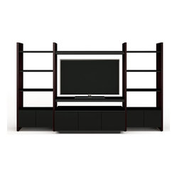 BDI - Semblance Home Theater Package 5423TJ - This is not your ordinary TV stand — this is wall art. Sculptured, richly grained, eye-catching. It grows as you do. Just add pieces as your system changes. Display your artifacts and hide your electronics.