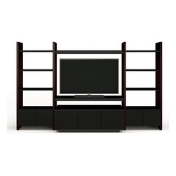 BDI - Semblance Home Theater Package 5423TJ, Espresso - Semblance is a component driven storage system that allows you to customize each unit to meet your needs and adjust them as they may change. The Semblance Home Theater Package 5423TJ is a double wide unit with two shelving systems on either side of the TV stand. Adjust the shelves to your liking in increments of 2.5 inches and add 2 cabinet doors to store necessities tidily. Micro-etched glass, steel supports, along side hardwood gives the entire structure strength and stability. Pick between 3 color options.
