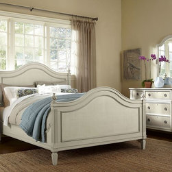 Thames Queen Bed - Feel dreamy and romantic. Angelic and bright, the full, classically-inspired collection is infused with fine metal medallion hardware, traced in beautiful molded framework and steadied with turned bun posts and feet. Constructed with poplar and birch solids, solid ash sides and backs. Tender to love. Dresser SKU# 055151. Chest SKU# 055152. Night Stand SKU# 055153.