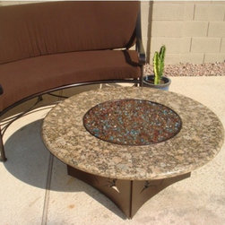 """Oriflamme Fire Pit Desert Elegance - The Oriflamme Fire Pit by Designing Fire, offered exclusively online from All Backyard Fun. The Desert Elegance Fire Pit offers Gaillo Fiorito granite color with a copper vein powder-coated base. With a heat rating of 65,000 BTUs, the Oriflamme Fire table is as functional as it is beautiful! Enjoy the only fire table on the market with a concealed propane tank that is at """"Standard Coffee Table Height"""". Perfect for an outdoor curved sectional couch!"""