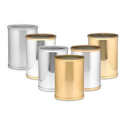 "Kraftware - Kraftware Mylar Waste Basket - Kraftware Mylar Waste Baskets bring the look of stainless steel and gold with the value of vinyl. Features 3/4"" W bands for an enhanced appearance."
