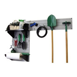 Wall Control Pegboard Garden Tool Board Organizer Kit - Gray - The Wall Control Pegboard Garden Tool Board Organizer Kit - Gray makes an ideal accessory for your garage or toolshed. Two 20-gauge steel pegboard panels are included in this kit, featuring a powder-coated, scratch-resistant finish and all the necessary mounting hardware. An assortment of pegboard hooks are included to get you started, including 2 handle hooks and 2 U-hooks. Two shelves are provided, a 9-inch shelf with dividers and a 4-inch shelf with a dowel assembly for paper towels and the like. The accessories are available in your choice of black, red, blue, or white. Tools are not included.About Wall Control For over a decade, Wall Control have provided home handymen and do-it-yourselfers with simple, easy-to-install wall storage available in a variety of colors and styles to suit any room in your home. Domestically based in Tucker, Georgia, Wall Control ensures quality American craftsmanship that's guaranteed to last a lifetime and looks great while doing so. Its patented designs are here to make your life easier, made from sturdy materials that let you customize any room in your home the way you see fit.