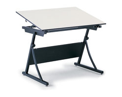 "Safco - PlanMaster Adjustable Height Drafting Table in Black - A stylish work asset for any occasion, this PlanMaster drafting table makes a great addition to engineering firms, classrooms and elsewhere. It has an adjustable height setting and a solid steel frame, completed with a black finish. A partial modesty panel is built into the frame. Table top not included. Top angle adjusts up to 50 degree. Durable and attractive design. Heavy-duty steel constructed base. 100 lbs. weight capacity. GREENGUARD Certified. Made from steel. Assembly required. Height: 29.50 - 37.50 in.. Overall: 37.50 in. W x 29.50 in. D x 43 in. H (62 lbs.). Assembly InstructionHave a solid plan. The PlanMaster Height-Adjustable table is perfect for drafting. Ensure your engineers, artists and architects always have an area where they can create the next big idea. Great for home or office use, this table will provide the perfect place for drawing, stenciling and finishing projects. With PlanMaster you'll get the same height and board angle adjustment of a traditional 4-post table. So low cost doesn't mean cutting corners. Achieve creative savings. Achieve creative savings. At a fraction of the cost, the PlanMaster provides the height and board angle adjustment of a traditional 4-post table. Raise your drafting table with a convenient spring-assisted mechanism that adjusts from 30"" to 37"" in height. The PlanMaster Table is compatible with 48"" (Model 3951) and 60"" (Model 3948) table tops that are not included."