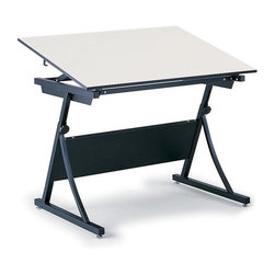 """Safco - PlanMaster Adjustable Height Drafting Table in Black - A stylish work asset for any occasion, this PlanMaster drafting table makes a great addition to engineering firms, classrooms and elsewhere. It has an adjustable height setting and a solid steel frame, completed with a black finish. A partial modesty panel is built into the frame. Table top not included. Top angle adjusts up to 50 degree. Durable and attractive design. Heavy-duty steel constructed base. 100 lbs. weight capacity. GREENGUARD Certified. Made from steel. Assembly required. Height: 29.50 - 37.50 in.. Overall: 37.50 in. W x 29.50 in. D x 43 in. H (62 lbs.). Assembly InstructionHave a solid plan. The PlanMaster Height-Adjustable table is perfect for drafting. Ensure your engineers, artists and architects always have an area where they can create the next big idea. Great for home or office use, this table will provide the perfect place for drawing, stenciling and finishing projects. With PlanMaster you'll get the same height and board angle adjustment of a traditional 4-post table. So low cost doesn't mean cutting corners. Achieve creative savings. Achieve creative savings. At a fraction of the cost, the PlanMaster provides the height and board angle adjustment of a traditional 4-post table. Raise your drafting table with a convenient spring-assisted mechanism that adjusts from 30"""" to 37"""" in height. The PlanMaster Table is compatible with 48"""" (Model 3951) and 60"""" (Model 3948) table tops that are not included."""
