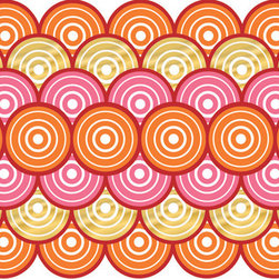 "WallPops - Jonathan Adler Geo Circles Stripe Wall Decals - Line your walls with these chic Geo Circles Wallpops, designed by Jonathan Adler. An array of intricate circles adorns these designer wall decals, dressed in vivid red, pink, and orange hues and graced with glossy gold accents. Stripes are 6.5"" wide x 12' long and come one to a pack. WallPops are always repositionable and removable."