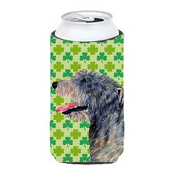 Caroline's Treasures - Irish Wolfhound St. Patrick's Day Shamrock Portrait Tall Boy Koozie Hugger - Irish Wolfhound St. Patrick's Day Shamrock Portrait Tall Boy Koozie Hugger Fits 22 oz. to 24 oz. cans or pint bottles. Great collapsible koozie for Energy Drinks or large Iced Tea beverages. Great to keep track of your beverage and add a bit of flair to a gathering. Match with one of the insulated coolers or coasters for a nice gift pack. Wash the hugger in your dishwasher or clothes washer. Design will not come off.