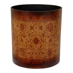 Oriental Unlimited - Olde-Worlde Baroque Waste Basket - Beautiful old world European style decorative pattern printed on the faux leather finish. No assembly required. 10 in. Dia. x 11.5 in. H (2 lbs.)
