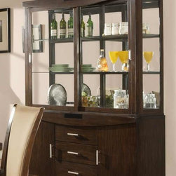 Alpine Furniture - Beverly Buffet w Hutch - Buffet with three drawers. Two doors. Hutch with shelves. Easy touch lighting. Six months warranty. Made from rubber wood solids and primavera veneer. Dark amber finish. Made in Vietnam. No assembly required. 61.75 in. W x 19 in. D x 81.25 in. H