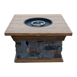 "AZ Patio Heaters - Sedona Faux Stone and Wood Firepit - Sedona Faux Stone and Wood Firepit.Dimensions: 40"" (L) x 40"" (W) x 23"" (H)Magnesium composite over steel frame"