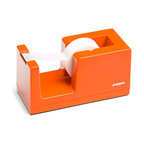 Poppin - Tape Dispenser, Orange - Let's dispense with formalities. You have trouble staying organized and your desk suffers from the style blahs. But this tape dispenser in your choice of eye-popping colors is bound to fix that. It features a weighted core, includes a free role of tape and coordinates with other desk accessories in the same line.
