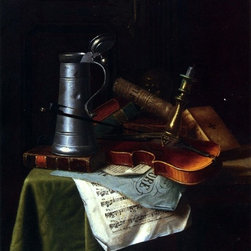 "William Michael Harnett Still Life with a Violin Print - 16"" x 20"" William Michael Harnett Still Life with a Violin, Pewter Tankard and Sheet Music premium archival print reproduced to meet museum quality standards. Our museum quality archival prints are produced using high-precision print technology for a more accurate reproduction printed on high quality, heavyweight matte presentation paper with fade-resistant, archival inks. Our progressive business model allows us to offer works of art to you at the best wholesale pricing, significantly less than art gallery prices, affordable to all. This line of artwork is produced with extra white border space (if you choose to have it framed, for your framer to work with to frame properly or utilize a larger mat and/or frame).  We present a comprehensive collection of exceptional art reproductions byWilliam Michael Harnett."