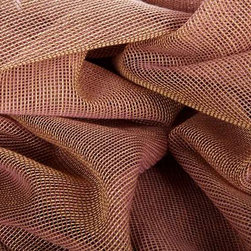 Net Gains Sheer Drapery Fabric in Pennies - Net Gains Sheer Drapery Fabric in Pennies is a pinkish, copper European drapery fabric ideal for window treatments or canopies. This super sheer, loose weave is perfect for interior designs that need the dimension of a window treatments, but do not want to sacrifice natural light. This discount fabric was made in the Netherlands from 100% Trevira. Passes CB117E. Cleaning Code S – Solvent-based cleaning agents only (water-free, dry cleaning). Width: 59″