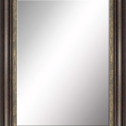 Paragon Decor - Beveled Mirror, Dark Wood with Gold Inlay, 36x48 - Mirror, Mirror, on the wall, who's the most beautiful mirror of them all? Reflect your impeccable taste with this traditional-style mirror, which features a gorgeous dark wood with gold inlay frame and high-quality interior beveled mirror. This piece measures 44 inches wide, 2 inches deep, and 56 inches high.