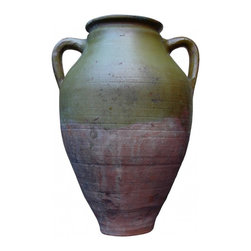 Green Olive Jar - Beautiful and unique earthenware, double-handled vessel used at one time to store grains, olives, oils, or prepared foods.  Adds a touch of rustic Mediterranean flair to any home décor. Very good original antique condition with no major cracks or damage. Some original blemishes and wear to the piece, and some minor nicks and wear to the rim -- to be expected from an object this old.