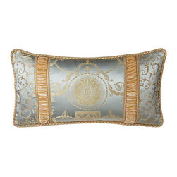 "Dian Austin Villa - Dian Austin Villa Pieced Oblong Pillow with Velvet Insets and Cord Edge, 14"" x 2 - Exclusively ours. Luxurious bed linens from Dian Austin Villa feature a medallion and garland pattern, companion scroll jacquard, and panne velvet detailing in serene hues of sea breeze and vanilla. Handcrafted in the USA of imported polyester and ray..."