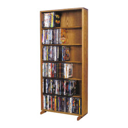 CD Racks - Solid Oak 6 Row Dowel CD/DVD Cabinet Tower - Handcrafted by the Wood Shed from durable solid oak hardwood