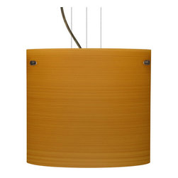 Besa Lighting - Besa Lighting 1KG-4184OK-LED Tamburo 1 Light LED Cable-Hung Pendant - Tamburo is a classic open-ended cylinder of handcrafted glass, a shape that will stand the test of time. Our Oak glass is a soft off-white cased glass that is handcrafted with spiraling strokes of light brown, emphasizing the subtle brush pattern. The wood-toned rippled design is subdued and harmonious. Unlit, it appears as simply a textured surface like wood grain, but when lit the texture comes alive. The smooth satin finish on the clear outer layer is a result of an extensive etching process, with the texture of the subtle brushing. This blown glass is handcrafted by a skilled artisan, utilizing century-old techniques passed down from generation to generation. The cable pendant fixture is equipped with three (3) 10' silver aircraft cables and 10' AWM cordset, and a low profile flat monopoint canopy.Features: