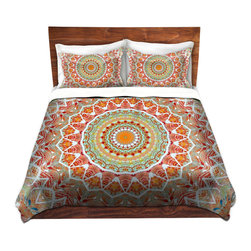 DiaNoche Designs - Duvet Cover Microfiber - Summer Lace - DiaNoche Designs works with artists from around the world to bring unique, artistic products to decorate all aspects of your home.  Super lightweight and extremely soft Premium Microfiber Duvet Cover (only) in sizes Twin, Queen, King.  Shams NOT included.  This duvet is designed to wash upon arrival for maximum softness.   Each duvet starts by looming the fabric and cutting to the size ordered.  The Image is printed and your Duvet Cover is meticulously sewn together with ties in each corner and a hidden zip closure.  All in the USA!!  Poly microfiber top and underside.  Dye Sublimation printing permanently adheres the ink to the material for long life and durability.  Machine Washable cold with light detergent and dry on low.  Product may vary slightly from image.  Shams not included.