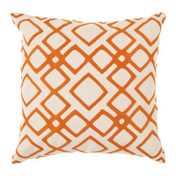 """Surya - Diamond Pattern Square Linen Pillow COM-015 - 22"""" x 22"""" - Looking for your very own diamond in the ruff? This is the pillow of your dreams. Its intricate geometric design permits the vibrant orange to pop against the soft cream backdrop, creating instant charisma within even the blandest space. This pillow contains a zipper closure and provides a reliable and affordable solution to updating your home's decor."""
