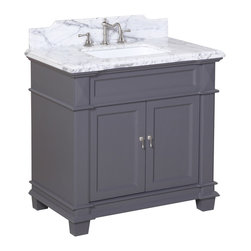 Kitchen Bath Collection - Elizabeth 36-in Bath Vanity (Carrara/Charcoal Gray) - This bathroom vanity set by Kitchen Bath Collection includes a charcoal gray cabinet with soft-close drawer and self-closing door hinges, Italian Carrara marble countertop with stunning beveled edges (an incredible 1.5 inches thick at the edge!), undermount ceramic sink, pop-up drain, and P-trap. Order now and we will include the pictured three-hole faucet and a matching backsplash as a free gift! All vanities come fully assembled by the manufacturer, with countertop & sink pre-installed.
