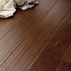 Solid bamboo - This is a solid, hand-scraped bamboo in a darker stain. Darker stains tend to hide the grain pattern of all woods and bamboo is no exception.