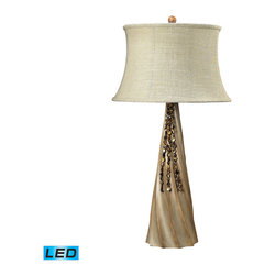 Dimond Lighting - Dimond Lighting 93-9242-LED Rest Haven 1 Light Table Lamps in Bleached Wood - Bleached Wood Table Lamp With Shells- LED Offering Up To 800 Lumens (60 Watt Equivalent) With Three Way Capabilty. Includes An Easily Replaceable LED Bulb (120V)