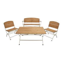 Classy Metal Wood Patio, Set of 4 - Description: