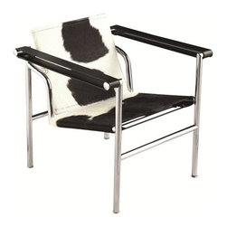 Fine Mod Imports - String Pony Flat Chair White/Black Pony Hide - Saddle up and sit a spell in this contemporary armchair. Covered in cowhide, the seat and back add a rugged edge to the overall design, while a polished chrome finish on the tubular-steel body provides a sound structure. This masculine chair is ideal for a game room, bachelor pad, or the man cave.