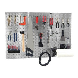 Wall Control Pegboard Basic Tool Organizer Kit - Turn that bare wall into a storage center with the Wall Control Pegboard Basic Tool Organizer Kit. Included in this kit is everything you need to take your garage, toolshed, or spare room from cramped and cluttered to clean and organized. The three pegboard panels are each made from thick 20-gauge steel (available in your choice of scratch-resistant black or galvanized steel finish) and install easily without a frame (all necessary mounting hardware is included). An assortment of 18 hooks and brackets are included to get you started, along with a dowel/shelf assembly, 2 hammer holders, and a screwdriver holder. Tools are not included.About Wall Control For over a decade, Wall Control have provided home handymen and do-it-yourselfers with simple, easy-to-install wall storage available in a variety of colors and styles to suit any room in your home. Domestically based in Tucker, Georgia, Wall Control ensures quality American craftsmanship that's guaranteed to last a lifetime and looks great while doing so. Its patented designs are here to make your life easier, made from sturdy materials that let you customize any room in your home the way you see fit.