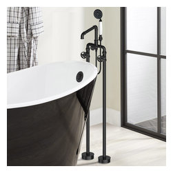 Chester Floor Mounted Clawfoot Tub Filler Chrome - This Chester floor-mounted clawfoot tub filler with handshower features traditional styling that will bring a feel of classic decor to your home. Constructed from solid brass for durability and reliability, finished in a high quality, corrosion resistant Polished Chrome.