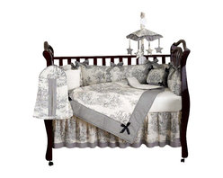 Sweet Jojo Designs - Black Toile 9-Piece Crib Bedding Set - The most sophisticated baby bed set in town. A fanciful black toile, nine-piece crib bedding set that will exceed all your expectations. The deluxe ensemble includes a crib blanket, fitted crib sheet, crib bumper pads, crib skirt (dust ruffle), diaper stacker, toy bag, decorative pillow and two window valances.