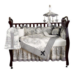 Black Toile 9-Piece Crib Bedding Set