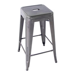 Kathy Kuo Home - Bouchon French Industrial Steel Backless Cafe Counter Stool - Set of 4 - This iconic industrial metal cafe counter stool, constructed of glossy steel, captures the utility and flexible use that makes loft style so smart. Used indoors or out, the classic lines evoke the breakrooms and old fashioned working man's bars from Paris to Pittsburgh.