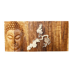 Kammika - Wall Panel Bamboo Buddha Flower 38 W x 18 inch H x 2 Th w Livos Oak & White Oils - Enhance the beauty of your home further with the tranquility of our Bamboo Buddha Flower Sustainable Wood Wall Panel 38 inch Wide x 18 inch High x 2 inch Thick in Eco Friendly, Natural Food-safe Livos Oak and White Oils. This carving is a rendition of the silent Buddha who listens like the Cambodian Pacceka. Set on a background of peaceful swirls  next to a Bamboo stand with a branch of Plumeria (Frangipani) flowers overlaid in 3D. Each panel is carved out of joined panels of Wood. There are two embedded flush mount Keyhole hangers on back bar for a protruding screw from your wall. The panels are made of wood grown specifically for the wood carving  industry. The Plumeria branch and flowers are finished with Livos White Oil. The oil makes the wood turn to a marbleized stone look. The light portions turn to shades of beige and the dark wood lightens to shades of brown with a light transparent white top coat. Some people think it is fossilized stone at first. The background Bamboo Buddha is finished with Livos Oak Oil. The wood turns to darker shades of brown over time and the alkaline in the oils create a honey orange color. These natural oils are translucent; the wood grain details are highlighted; they are then polished to a matte finish. There is No oily feel and cannot bleed into carpets. All products are dried in solar kilns and or propane kilns. No chemicals are used in the process, ever. Each piece is kiln dried, sanded, and hand rubbed with eco friendly oils; they are then packaged with cartons from recycled cardboard with no plastic or other fillers. Your item will be completely unique, and may include small checks or cracks that occur when the wood is dried. Sizes are approximate. Products could have visible marks from tools used, patches from small repairs, knot holes, natural inclusions, and/or worm holes. There may be various separations or cracks on your piece when it arrives. There may be some slight variation in size, color, texture, and finish color.Only listed product included.