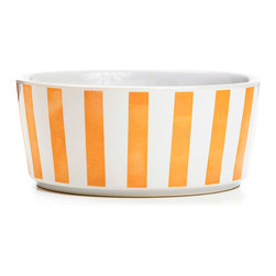Waggo - Stripey Soiree Ceramic Dog Bowl, Rose Gold, Small - Your pup can be the life of the party with our Stripey Soiree dog bowls! These boldly striped bowls are available in three classic colors to match any decor- Red, Navy and Rose Gold. Choose a favorite or mix and match with your favorite Waggo dog bowls.