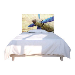 NOYO - Propeller Blue Headboard, Full - Take off to the land of nod with a whole new concept in bedroom decor. A cedar frame takes a machine-washable slipcover you can change with your mood. Tonight, an old-school propeller; next week, whatever you dare to dream of.