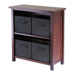 Winsome Wood - Two Shelf Wood Storage Unit w Four Black Fabr - Your home will stay neat and tidy with this delightful storage unit. Four black fabric baskets are made to hold just about anything, while the strong frame is sturdy and dependable for worry free use. A walnut finish completes the appeal, and will coordinate with any existing decor. * Verona Collection. Walnut finish unit. Black color baskets. Wood Unit. Fabric baskets. Assembly required. Shelf Unit: 28 in. L x 13 in. W x 30 in. H, 22 lbs. Basket: 10.97 in. L x 10.06 in. W x 9 in. H. 1.2 lbs