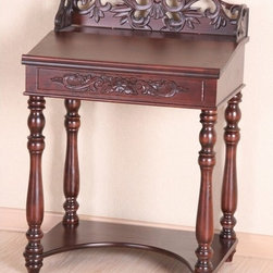 International Caravan - International Caravan Shangri-La Hand-carved Small Wood Writing Desk - Elegant carvings and a rich oak finish highlight this Shangri-La writing desk. This wood desk features a lift-open top with storage space.