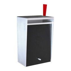 Box Design - Wall Mount Letterbox w/ Lock, Zincalume, Black, Flag - Front opening wall mount design with locking front.