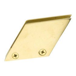 Renovators Supply - Bar Brackets Solid Brass Glass Railing Clip Holds 3/8'' glass - Glass Railing Clip. Measures 1 13/16 inch along the bottom, 1 3/8 in. H and is at a 53 degree angle. Holds standard 3/8 inch glass. Features 4 adjusting screws, two on either side. Has three open channels and one closed channels. Has two screw holes in the bottom, screws sold separately.
