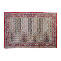 Area Rug, 7'X10' Fine Wool & Silk Bidjar Mahi 300 Kpsi Hand Knotted Rug SH9134 - This collection consists of fine knotted rugs.  The knots per square inch means more material in the rug as well as more labor.  This leads to a finer rug and a more expoensive rug.  Classical and traditional persian motifs are usually used as designs in these rugs.