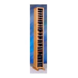Wood Shed - CD Storage Tower w Individual Locking Slots ( - Finish: Honey OakCapacity: 80 CD's. Made from solid oak. Honey oak finish. 6.75 in. W x 12.25 in. D x 53 in. H