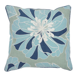 Sea Enfleurs Green/Blue Pillow - Beautifully handmade and hand woven, each pillow is made with a quality fill of 95% feather and 5% down. The Villa Home collection offers a variety of colors, textures and accents that will add a feeling of luxury to your home. The Sea pillow is 100% Linen.