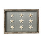 9 White Starfish Shadowbox with Seafoam Background - 9 lovely white starfishes collected and displayed beautifully against a seafoam green background ready to be hung in your most treasured coastally inspired design space. A lovely finishing touch that will add just the right amount of detailed elegance to any home. Framed by distressed wood giving it a distinctly vintage feel, this shadowbox makes an extravagantly thoughtful gift to any lover of the sea and its treasures.