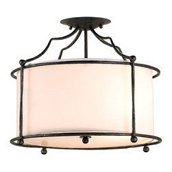 Kathy Kuo Home - Old Bronze Contemporary 4 Light Ceiling Mount Light - Love chic, French inspired lighting?  Something ceiling mounted?  Slightly Art Nouveau in its style?  Well, here it is in delightfully wrought iron with a soft ivory cap.